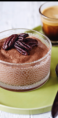 The New Low-Carb Diet Cookbook :: Chilli Lime Chocolate Mousse with Candied Pecans