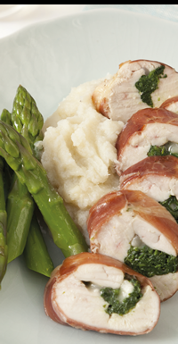 The New Low-Carb Diet Cookbook :: Parma Ham-Wrapped Chicken with Cauliflower Puree